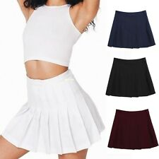 Women Tennis Skater Skirt High Waist Flared Pleated Draped Solid Slim Mini Skirt