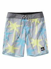 QUIKSILVER MENS BOARD SHORTS OG SCALLOP PRINT SWIM SURF PALM TREES TROPICAL