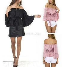 Sexy Women Off Shoulder Long Sleeve Blouse Casual Ladies Loose Tee Shirts Tops