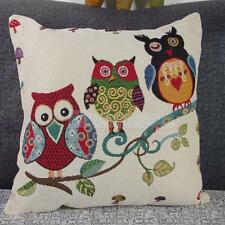 Owl Cotton Linen Square Decorative Throw Pillow Case Cushion Cover 16""
