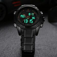 Men's Stainless Steel Military Sport Date Analog Quartz LED Digital Wrist Watch