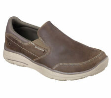 64589 Taupe Skechers Shoes Men Gel Memory Foam Loafer Casual Comfort Slip On New