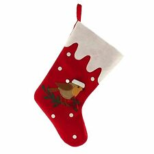Large 39cm Red Felt Fabric Christmas Robin Stocking - Choose Quantity