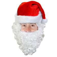 SANTA CLAUS HAT WITH ATTACHED BEARD MENS XMAS FANCY DRESS FATHER CHRISTMAS