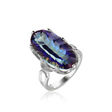 8ct Genuine Rainbow Fire Mystic Topaz Ring Solid 925 Sterling Silver Geometric