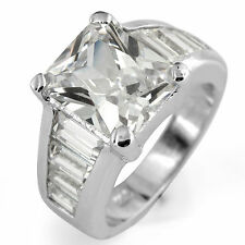 Baguette Emerald Wedding Engagement Anniversary Bridal Ring 925 Sterling Silver