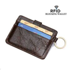 Real Cowhide Leather Clip ID Credit Card Case Holder Slim Wallet Front Pocket