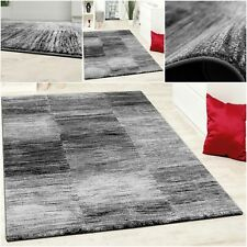 Elegant Living Room Rug Grey Black Cream Carpet Short Pile Modern Hall Runner