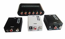 Digital Optical Coaxial Toslink Signal to Analog RCA L/R Audio Converter Adapter