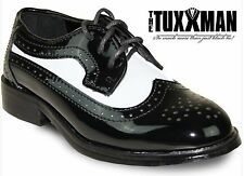 New Boys Black White Wing Tip Lace Up Dress Shoe Kids Tuxedo Ringbearer All Size