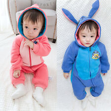 Kids Baby Boy Girl Warm Romper Jumpsuit Bodysuit Hooded Cartoon Cotton Clothes
