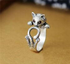 Retro Cute Cat Ring Punk Knuckle Adjustable Size Zoo-Animals Pet Crystal Silver