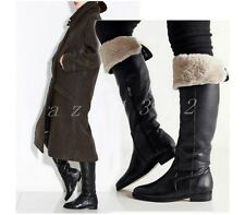 Womens Leather Riding Shoes Fur Lining Buckle Block Heels Knee High Boots Size