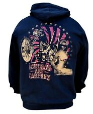 Men's Lowbrow Chopper Bike Nude Woman Ian McNiel Black Zip Hoodie Lowbrow Art