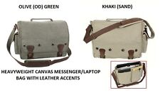 Classic CANVAS & LEATHER Messenger Bag Computer Tablet Laptop Notebook Case