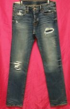 NWT Abercrombie & Fitch Mens Slim Straight Medium Wash Destroyed Jeans ~ 32 x 34