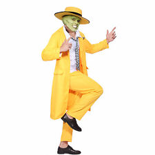 Men 90s Fancy Dress The Mask Jim Carrey Costume Yellow Gangster Zoot Suit Outfit