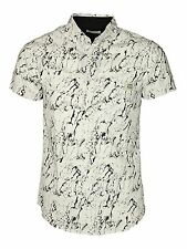 MENS JACK & JONES SPLASH SHIRT SHORT SLEEVE IN WHITE-BLACK COLOUR XS - M RRP £30