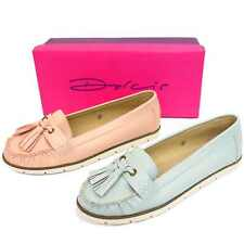 LADIES DOLCIS BLUE OR PINK SLIP-ON LOAFER MOCCASIN SMART FLAT CASUAL SHOES PUMPS