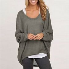 2016 Autumn Women Batwing Long Sleeve Pullover Shirt Loose Solid Tops Sweater Bl