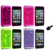 Butterfly Flower TPU Rubber Case Cover+Mini Stylus for iPod Touch 4th Gen 4G 4