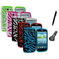 Hybrid Zebra Color Hard Soft Case Cover+Charger+Pen for Samsung Galaxy S3 S III