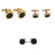 Vintage Black Agate Cufflink Cuff Link Wedding Groom Mens Shirt Accessory Gift