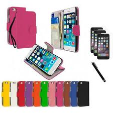 For Apple iPhone 6 (4.7) Wallet Flip Case Cover+3X Screen Protector+Stylus