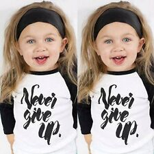 Toddler Baby Boys Girls Letters Print T Shirt Long Sleeve Cotton Tee Tops 1-6T