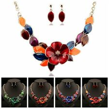 Hot Vogue Women Necklace Earring Set Jewelry Flowers Sweater Chain pendant Gifts