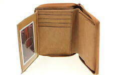 Men Wallet Euro Hipster Zipper Closed Flap Out Picture Window Button Snap Pocket