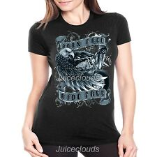 Biker Fitted Shirt Born Free Ride Free Eagle Wings Chopper JUNIORS