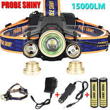 ZOOM 15000lm Headlamp CREE XM-L 3 x T6 LED Headlight  Charger  18650 Battery Lot