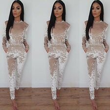 New Womens Long Sleeve Bodycon Slim Romper Party Bodysuit Pants Jumpsuit Rompers