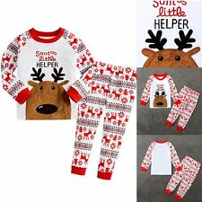 Toddler Kid Baby Boy Girl Christmas Deer T-shirt Top+Pants Pajamas Sleepwear Set