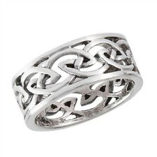 New .925 Sterling Silver Filigree Celtic Knot Weave Band Ring Sizes 7 -12