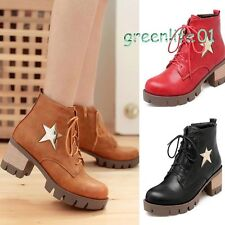 Women chunky heel round toe platform lace-up punk goth creeper ankle boots