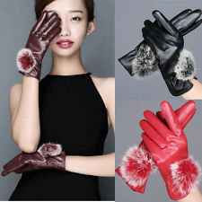 Ladies Sexy Fashion Leather Gloves Lovely Ribbet Fur Thicken Warm Winter Outdoor