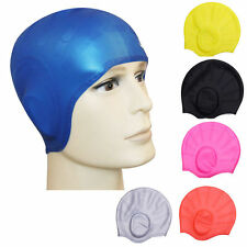 6 Colors Silicon Swimming Long Hair Cap Bathing Cap With Ear Cup Waterproof