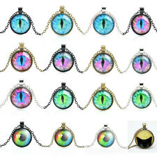 Popular Colorful Dragon Cat Eye Glass Cabochon Plated Pendant Necklace Jewelry