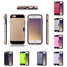 Hybrid Armor Hard Back Card Holder Slot Case Cover For iphone 7 6 6S Plus Useful