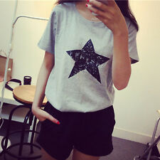 Fashion Women Girl Big Star pattern Loose round neck Short Sleeve Casual T-shirt