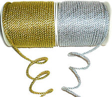 STUNNING 4MM METALLIC TWISTED CORD ROPE, SOLD BTM, GOLD/SILVER, ART 08-67185.4