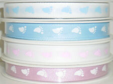 TOP QUALITY BABY FEET GROSGRAIN RIBBON 10MM, 5 MTRS, CHOOSE COLOUR, ART 54268