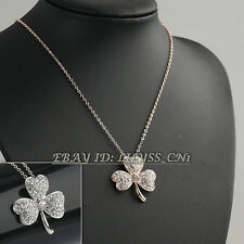 Fashion Rhinestone Clover Necklace Pendant Charm 18KGP CZ Crystal