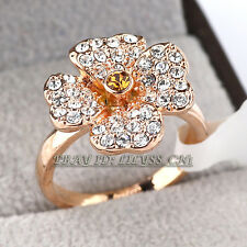 Fashion Flower Lucky Clover Ring 18KGP CZ Rhinestone Crystal Sz 5.5, 6