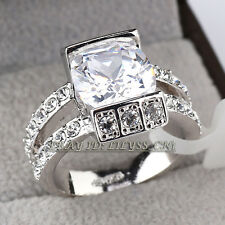 Fashion White Gold Tone Solitaire Rhinestone Ring 18KGP CZ Crystal Size 5.5-9