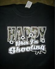 Hunting T Shirt Happy When Im Shooting Rifle Gun Dynasty Camo Bullet Target AR15