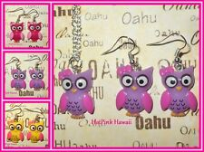 Cute Owl Earrings Matching Necklace Silver Plated Matching Jewelry USA HANDMADE