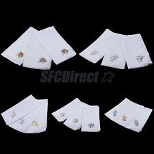 12pcs 100% Cotton Handkerchief Flower Hanky Kerchiefs Party Hand Towel for Women